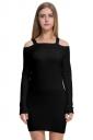 Womens Elegant Cold Shoulder Elastic Bodycon Knit Sweater Dress Black