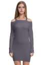 Womens Elegant Cold Shoulder Elastic Bodycon Knit Sweater Dress Gray