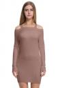 Womens Elegant Cold Shoulder Elastic Bodycon Knit Sweater Dress Khaki
