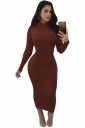 Women High Collar Long Sleeve Lace Up Bodycon Maxi Sweater Dress Brown