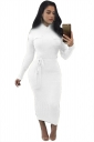 Women High Collar Long Sleeve Lace Up Bodycon Maxi Sweater Dress White