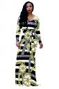 Womens Long Sleeve Geometry Printed Maxi Bodycon Clubwear Dress Black