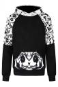 Womens Panda Printed Raglan Sleeve Kangaroo Pocket Hoodie Black And White