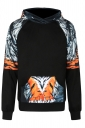 Womens Tiger Printed Raglan Sleeve Kangaroo Pocket Hoodie Black