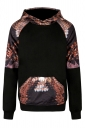 Womens Eagle Printed Raglan Sleeve Kangaroo Pocket Hoodie Brown