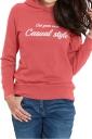 Womens Casual Hooded Long Sleeve Words Printed Hoodie Red