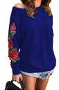 Womens One Shoulder Cut Out Embroidered Printed Sweatshirt Blue