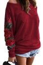 Womens One Shoulder Cut Out Embroidered Printed Sweatshirt Red