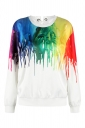 Long Sleeve Oil Paint Printed Eyelet Lace Up Sweatshirt Multicolour