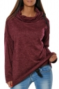 Womens Drawstring Crew Neck Batwing Sleeve Plain Pullover Hoodie Ruby