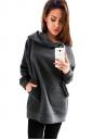 Womens Long Sleeve Zipper Slant Pocket Plain Hoodie Gray