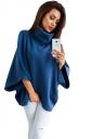 Womens High Collar Batwing Sleeve Plain Pullover Sweater Blue