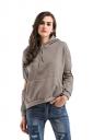 Womens Cut Out Long Sleeve Kangaroo Pocket Plain Pullover Hoodie Khaki