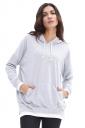 Drawstring Color Block Plus Size Kangaroo Pocket Hoodie Light Gray