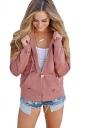 Womens Cut Out Kangaroo Pocket Zipper Coat Plain Hoodie Pink