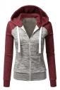 Womens Drawstring Pocket Color Block Zipper Coat Sport Hoodie Ruby