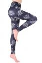 Womens Elastic Skinny Ankle Length Owl Printed Leggings Black