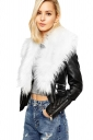 Womens Trendy Zipper Faux Fur Long Sleeve Plain Leather Jacket White