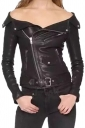Womens Sexy Off Shoulder Zipper Belt Studded Leather Jacket Black