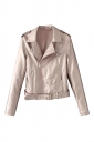 Womens Turndown Collar Epaulet Zipper Belt Leather Jacket Light Pink