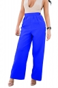 Womens High Waist Wide Legs Button Design Plain Leisure Pants Blue