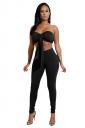 Womens Sexy Off Shoulder Bandage Crop Top&Plain Leggings Suit Black