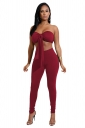 Womens Sexy Off Shoulder Bandage Crop Top&Plain Leggings Suit Ruby