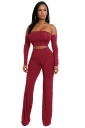 Womens Sexy Off Shoulder Lace Up Crop Top&Leisure Pants Suit Ruby