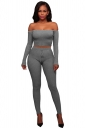 Womens Sexy Off Shoulder Crop Top&Drawstring Pants Plain Suit Gray
