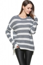 Womens High Low Hem Stripes Patterned Pullover Sweater Light Gray