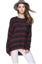 Womens High Low Hem Stripes Patterned Pullover Sweater Red