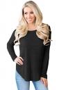 Womens Sexy Long Sleeve Backless Asymmetrical Hem T-Shirt Black