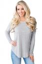Womens Sexy Long Sleeve Backless Asymmetrical Hem T-Shirt Gray