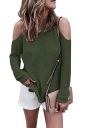 Women Sexy Cold Shoulder Long Sleeve Plain Pullover Sweater Army Green