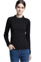 Womens Crew Neck Long Sleeve Plain Pullover Sweater Black