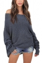Womens Off Shoulder Long Sleeve Oversized Pullover Sweater Dark Gray