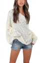 Womens Sexy Off Shoulder Long Sleeve Oversized Pullover Sweater White