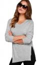 Womens V-Neck Long Sleeve Side Slit Plain Pullover Sweater Gray