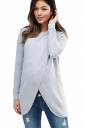 Womens Asymmetrical Hem Maternity Oversized Pullover Sweater Gray