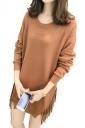 Womens Oversized Tassel Split Long Sleeve Plain Pullover Sweater Khaki