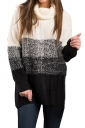 Womens Cowl Neck Gradient Color Pullover Sweater Black And White