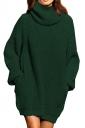 Womens Thicken High Collar Long Sleeve Plain Sweater Dress Dark Green