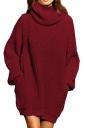 Womens Thicken High Collar Long Sleeve Plain Sweater Dress Ruby