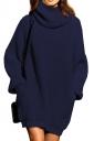 Womens Thicken High Collar Long Sleeve Plain Sweater Dress Navy Blue