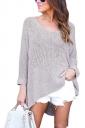 Womens Sexy V-Neck Asymmetrical Hem Plain Pullover Sweater Gray