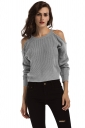 Womens Sexy Cold Shoulder Long Sleeve Plain Pullover Sweater Gray