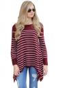 Womens Long Sleeve Asymmetrical Hem Striped Pullover Sweater Ruby