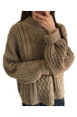 Womens Oversized Batwing Sleeve Knit Plain Pullover Sweater Khaki