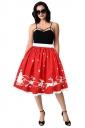 Womens Christmas Sleigh And Reindeer Printed Pleated Skirt Coral