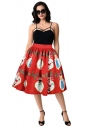 Womens Cute Christmas Santa And Snowman Printed Pleated Skirt Dark Red